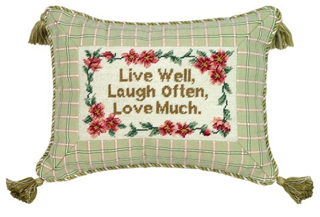 123 Creations C718.9x12 inch Live Well Laugh Often Petit Point Pillow - 100 Percent Wool