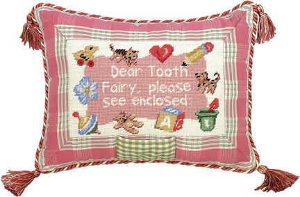 123 Creations C719.9x12 inch Dear Tooth Fairy Girl Petit Point Pillow - 100 Percent Wool