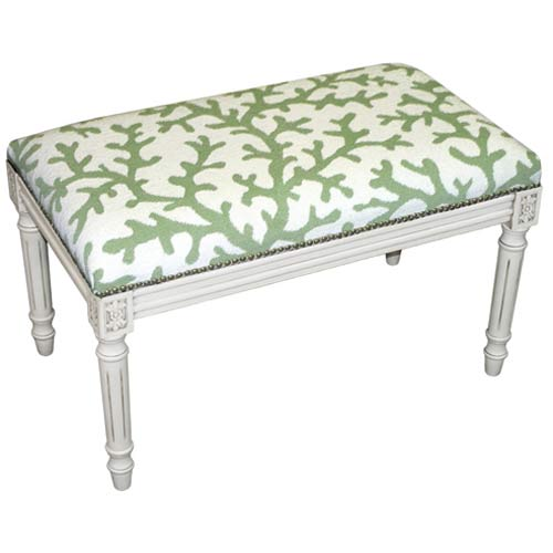 123 Creations C763WBC Coral in Green Needlepoint Bench in White Wash - 100 Percent Wool