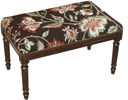 123 Creations C909BC Jacobean-Brown Needlepoint Bench