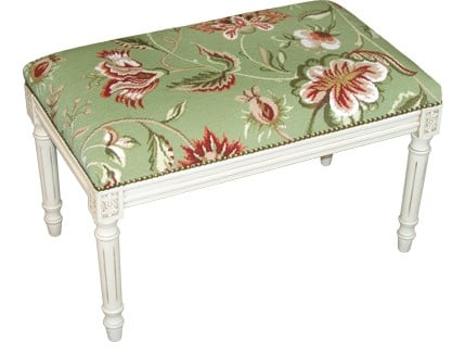 123 Creations C909GWBC Jacobean-Green Needlepoint Bench with White Finish