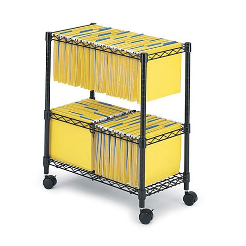 Safco 5278BL 2 Tier Rolling File Cart in Black