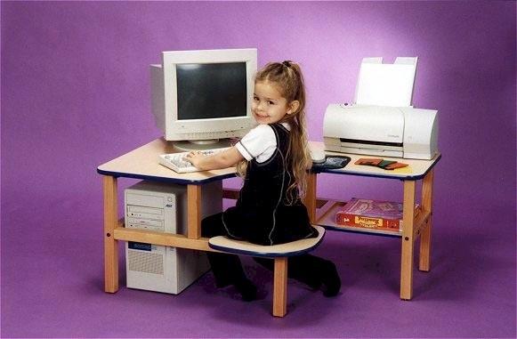 Pre-School Computer Desk in White with Blue Trim - Wild Zoo Furniture p/c wht/blu-wz