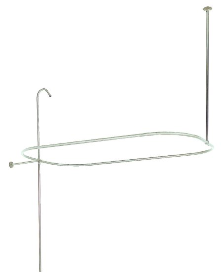 Kingston Brass ABT1040-8 Oval-Shape Shower Riser With Enclosure - Satin Nickel