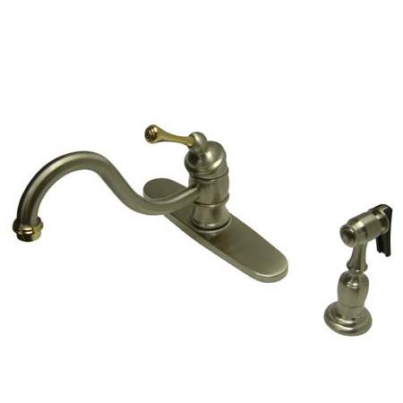 Kingston Brass KB3579BLBS Mono Deck Mount Kitchen Faucet With Brass Side Sprayer - Satin Nickel-Polished Brass