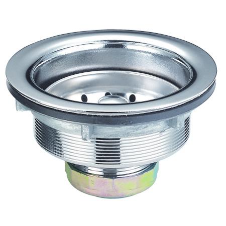 Kingston Brass K111B Stainless Steel Kitchen Basket Strainer-Brass Nut- - D 4-.389 Inch X - H 2-.5 Inch
