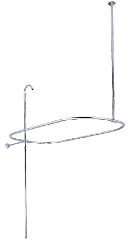 Kingston Brass CC10401 Oval-Shape Shower Riser With Enclosure - Polished Chrome