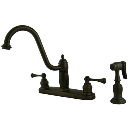 Kingston Brass KB1115BLBS 8 Inch Center Kitchen Faucet With Brass Side Sprayer - Oil Rubbed Bronze